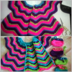 Crochet baby set 106, Purple, Bright/fluro pink, Lime green, Bright light blue. Reversible due to how pattern works up.