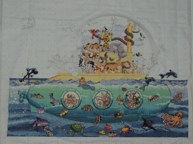 Noah's Submarine (Cross Stitch) the animals on side of sub and birds have been done since this pic was taken.